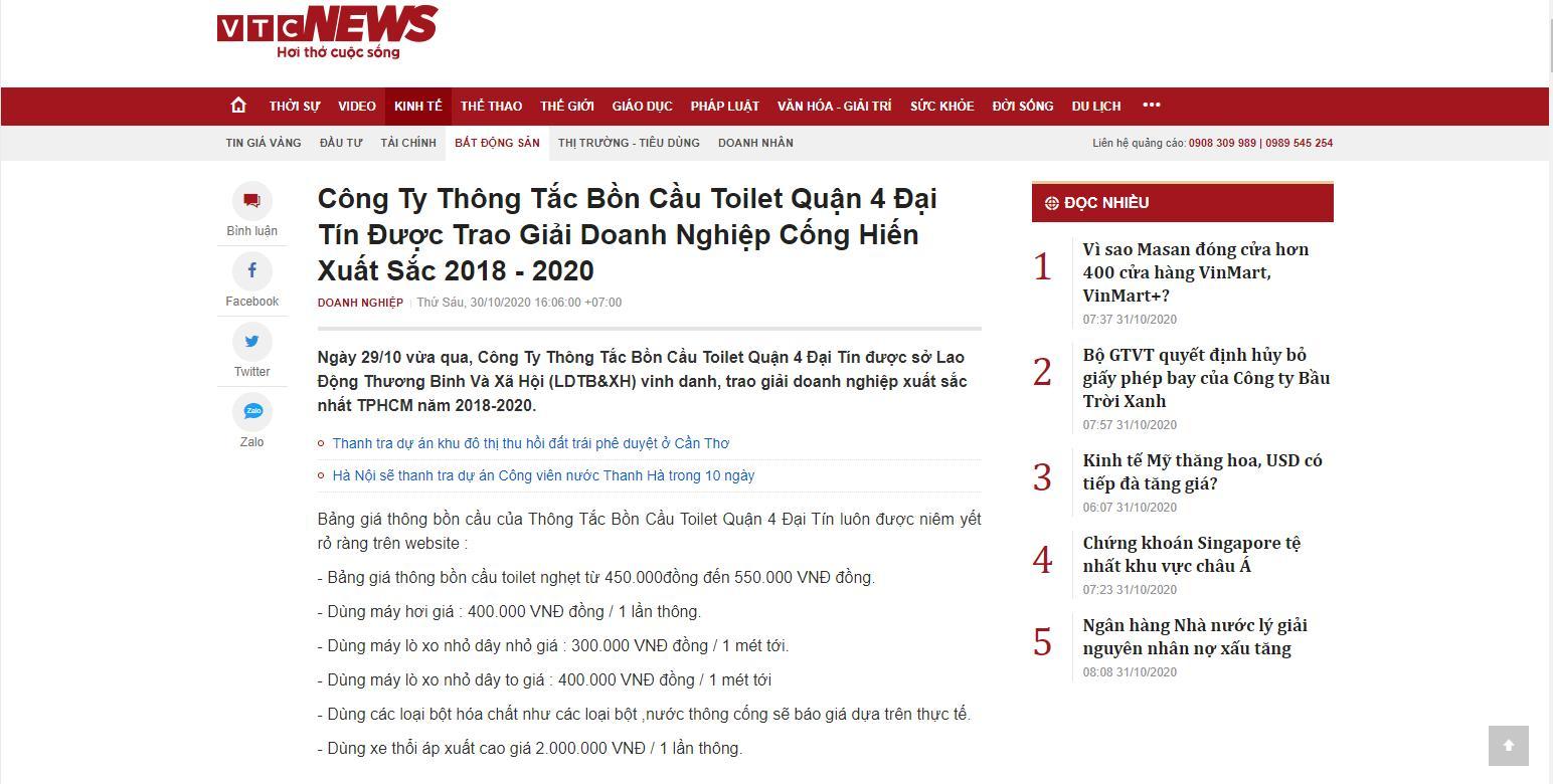 Báo VTCNews nói về Công Ty Thông Tắc Bồn Cầu Toilet Quận 4 Đại Tín